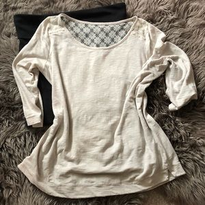 Express laced back 3/4 sleeve top